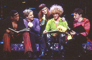 Michael McElroy, Luther Creek, Idina Menzel, Tom Plotkin,and Kevin Cahoon in the Encores! production of Hair