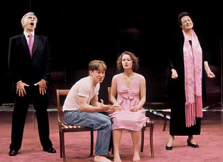 Philip Goodwin, Matt Stinton, Kosha Engler, and Nancy Robinettein The Play About the Baby(Photo: © Carol Pratt)