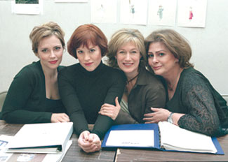 (l-r) Dagmara Dominczyk, Molly Ringwald, Jayne Atkinson,and Elizabeth Ashley at rehearsals for Enchanted April