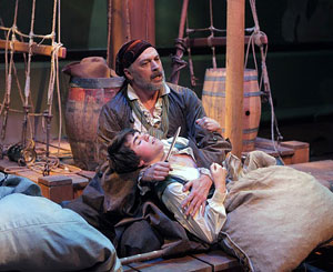 Tom Hewitt and Noah E. Galvin in Treasure Island