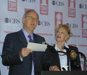 John Lithgow and Melanie Griffith announcing the2003 Tony Award nominations at Sardi's(Photo © Michael Portantiere)