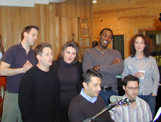 Members of the cast of Amour at the recording session(Photo © Matthew Murray)