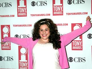 Hairspray star Marissa Jaret Winokur wins Peter Filichia'saward for the Happiest Looking Nominee(Photo © Joseph Marzullo)