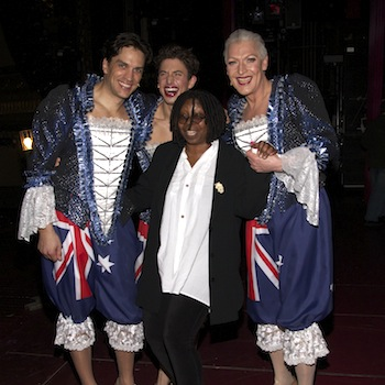 Will Swenson, Nick Adams, Whoopi Goldberg, and Tony Sheldon