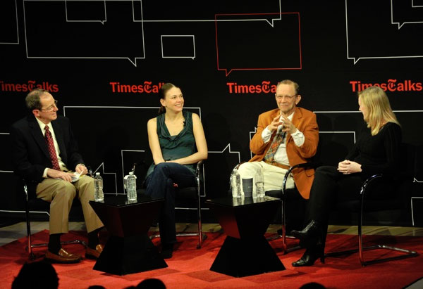 Anthony Tommasini, Sutton Foster, Joel Grey, and Kathleen Marshall