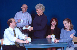 Ted Rodenborn, Herb Rubens, Gammy Singer, GlynisBell, and Martha Libman in Whose Family Values!(Photo &copy; Carol Rosegg)