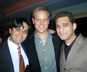 Avenue Q composers Robert Lopez (l) and Jeff Marx (r)with the show's director, Jason Moore(Photo © Michael Portantiere)