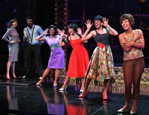 Beth Leavel, Allan Louis, Kyra DaCosta, Crystal Starr, Erica Ash, and Christina Sajous in Baby It's You (© Ari Mintz)