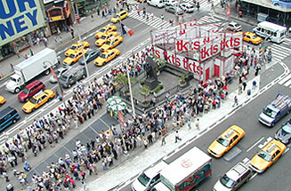 Not like the good old days:Long lines at the TKTS booth are a common sight in Times Square