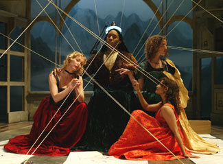 Mariann Mayberry, Paul Oakley Stovall, Louise Lamson, andAnjali Bhimani in The Notebooks of Leonardo da Vinci(Photo © Joan Marcus)