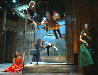 Anjali Bhimani, Mariann Mayberry, Lizzy Cooper Davis, Kyle Hall,Christopher Donahue, and Louise Lamson in The Notebooksof Leonardo da Vinci(Photo © Joan Marcus)