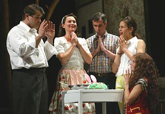 John Sierros, Cherry Jones, Peter Gaitens, Jessica Hecht,and Martha Plimpton in Flesh and Blood