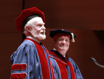 Sir Derek Jacobi with Juilliard President Joseph W. Polisi
