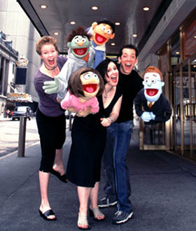 Puppets on parade!Jennifer Barnhart, Stephanie D'Abruzzo, John Tartagliaand friends outside the Golden Theatre