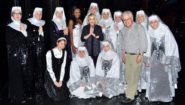 Cast members of Sister Act with Joan Rivers and Jerry Zaks