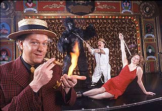 Todd Robbins, Little Jimmy, Gorilla Girl, and Robbins's assistantShannon Morrow in Carnival Knowledge(Photo © Richey Fahey)