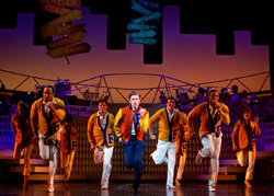 Aaron Tveit (center) and Company in Catch Me If You Can (© Joan Marcus)