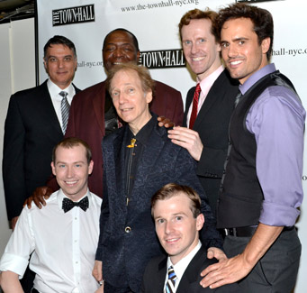 Scott Siegel (center) with the men of Broadway Musicals of 1997