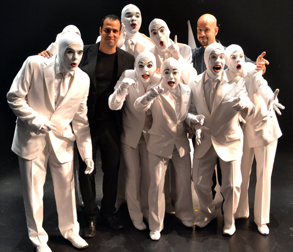Lior Kalfo and Shai Fishman with the cast of Voca People