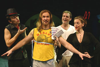 Daniel Reichard, Ron Bohmer, Marc Kudisch, and Jennifer Simardin The Thing About Men(Photo © Carol Rosegg)