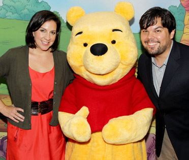 Kristen Anderson-Lopez and Robert Lopez with Winnie the Pooh