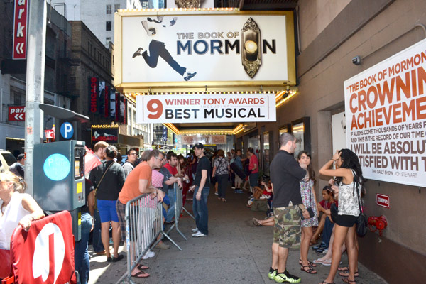 Fans waiting in line for The Book of Mormon