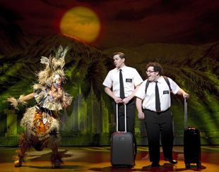 Rema Webb, Andrew Rannells, and Josh Gadin The Book of Mormon (© Joan Marcus)