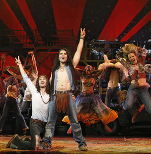 Paris Remillard, Steel Burkhardt, and company in Hair ( Joan Marcus)