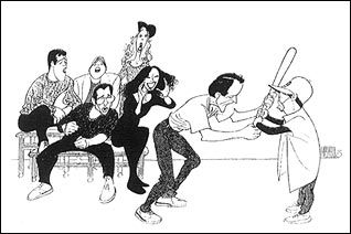 """The Baseball Game"" from Falsettos(Drawing by Al Hirschfeld)"