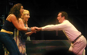 """Darcie Siciliano, Ashley Atkinson, and Jay Rogers inan """"A"""" train musical with a book by Dana Leslie Goldstein,music and lyrics by Tim Carless(Photo © Michael Portantiere)"""