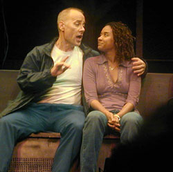 """Bill Dyszel and Traci Thoms in an """"A"""" trainmusical with a book by Craig Pospisil,music and lyrics by Joanna Parson(Photo © Michael Portantiere)"""