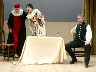 Paxton Whitehead, Bill Irwin, and Rocco Sistoin The Harlequin Studies(Photo © Carol Rosegg)