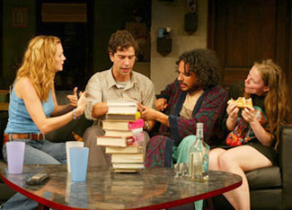 Heather Graham, Hamish Linklater, Jesse J. Perez,and Colleen Werthmann in Recent Tragic Events(Photo © Joan Marcus)
