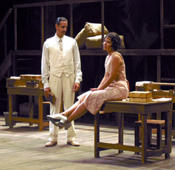 Julian Acosta and Adriana Sevan in theSouth Coast Rep's Anna in the Tropics.