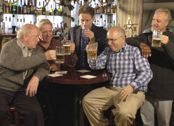 Peter Maloney, Guy Boyd, Michael Cullen, Lee Wilkof,and Robert LuPone in Four Beers(Photo © Richard Termine)