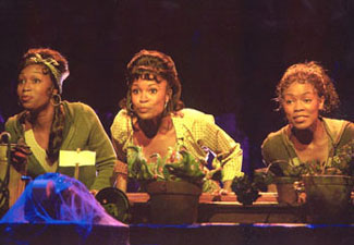 Carla J. Hargrove, DeQuina Moore, and Trisha Jeffreyin Little Shop of Horrors(Photo © Paul Kolnik)