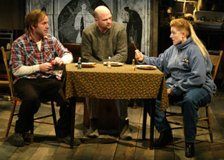Clark Gregg, Chris Bauer, and Mary McCann in The Night Heron(Photo © Carol Rosegg)
