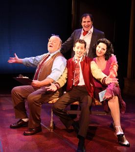 Erick Devine, Richard Kind, Josh Grisetti,and Kate Shindle in Enter Laughing The Musical (© Jerry Lamonoca)