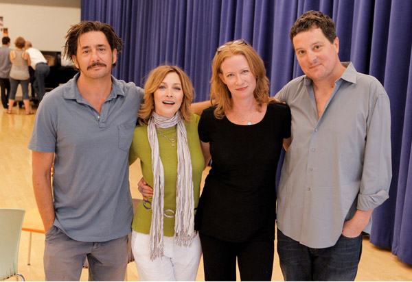 Reg Rogers, Sharon Lawrence, Johanna Day, and Christopher Evan Welch in rehearsal for Poor Behavior (© Joan Marcus)