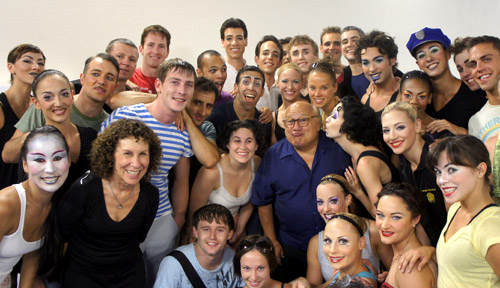 Rhea Perlman and Danny DeVito with cast members of Iris
