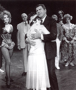 Lisa Kirk, Tom Baten, Bernadette Peters,Robert Preston, Jerry Dodge, Robert Fitch, andNancy Evers in Mack & Mabel (1974)(Photo © Billy Rose Theatre Collection)
