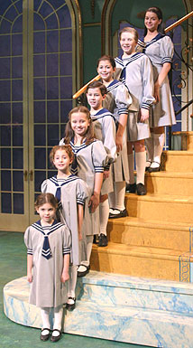 Bottom to top: Caroline London, TiffanyGiardina, Allison Brustofski, NicholasJonas, Krista Pioppi, Daniel Plimpton,and Elizabeth Lundbergin The Sound of Music(Photo © Gerry Goodstein)