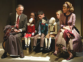 Mark Blum, Enid Graham, Will McCormack, Catherine Kellner,and Randy Graff in The Long Christmas Ride Home(Photo © Carol Rosegg)