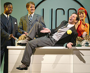 Charles Shaughnessy (center),with (l-r) Lawrence E. Street, James Moye, andKristie Dale Sanders in Urinetown(Photo © Carol Rosegg)