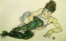 """Green Stockings"" by Egon Schiele"
