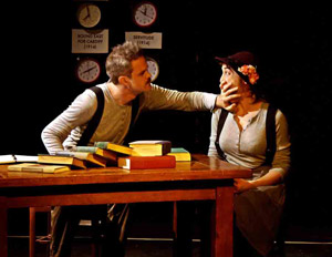 Connor Kalista and Cara Francis in The Complete & Condensed Stage Directions of Eugene O'Neill (© Anton Nickel)