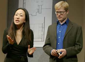 M.J. Kang and Anthony Rapp in Private Jokes, Public Places(Photo &copy; Carol Rosegg)