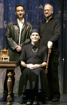 Wife's midwives: Moisés Kaufman,Doug Wright, and Jefferson Mays(Photo © Joan Marcus)