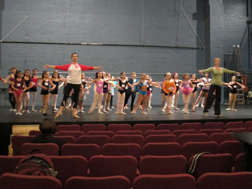 Ballet Girl hopefuls audition in the theater
