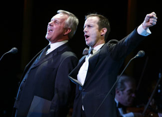 "Walter Bobbie and Denis O'Hare sing ""The Company Way""(Photo © Joan Marcus)"